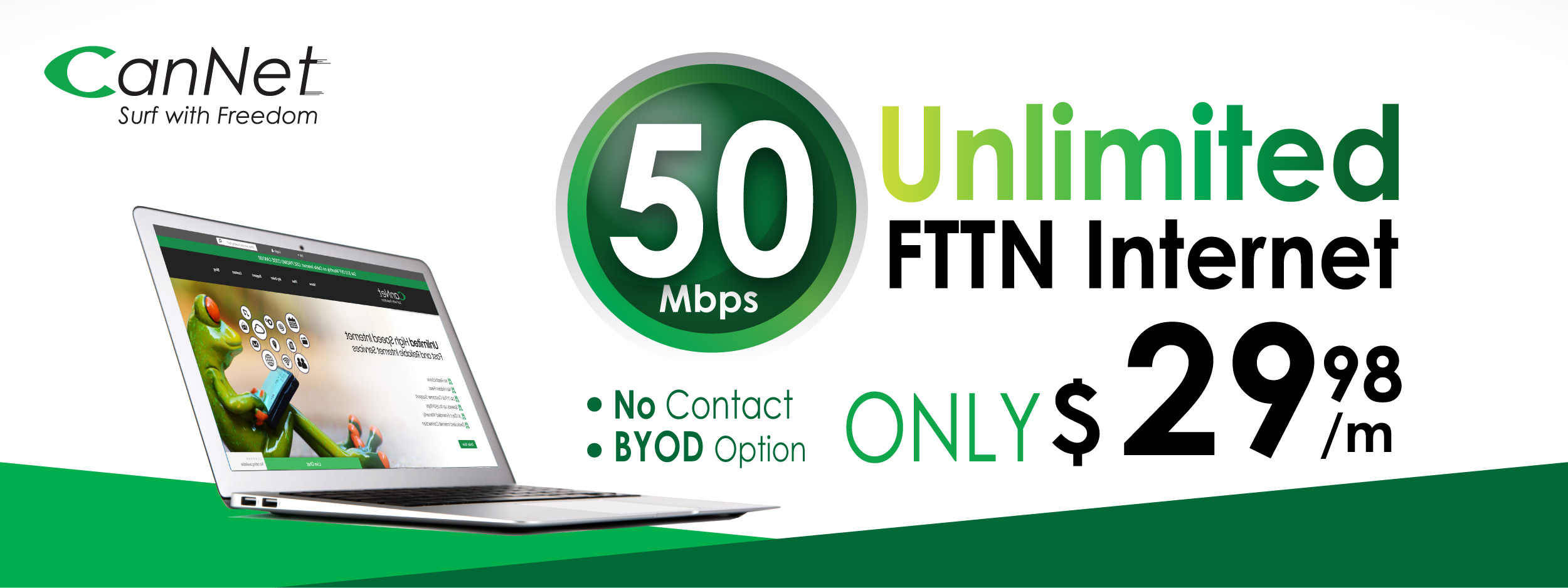 50M FTTN unlimited internet only $29.98 monthly with our SmartRG SR161 AC Router rental for $5/m(PROMOTION HAS ENDED)