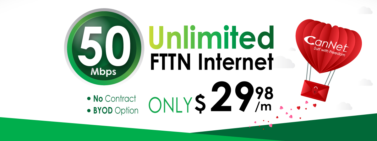 50M FTTN unlimited internet only $29.98 monthly with our brand new SmartRG SR161 AC router rental for $5/m (PROMOTION HAS ENDED)